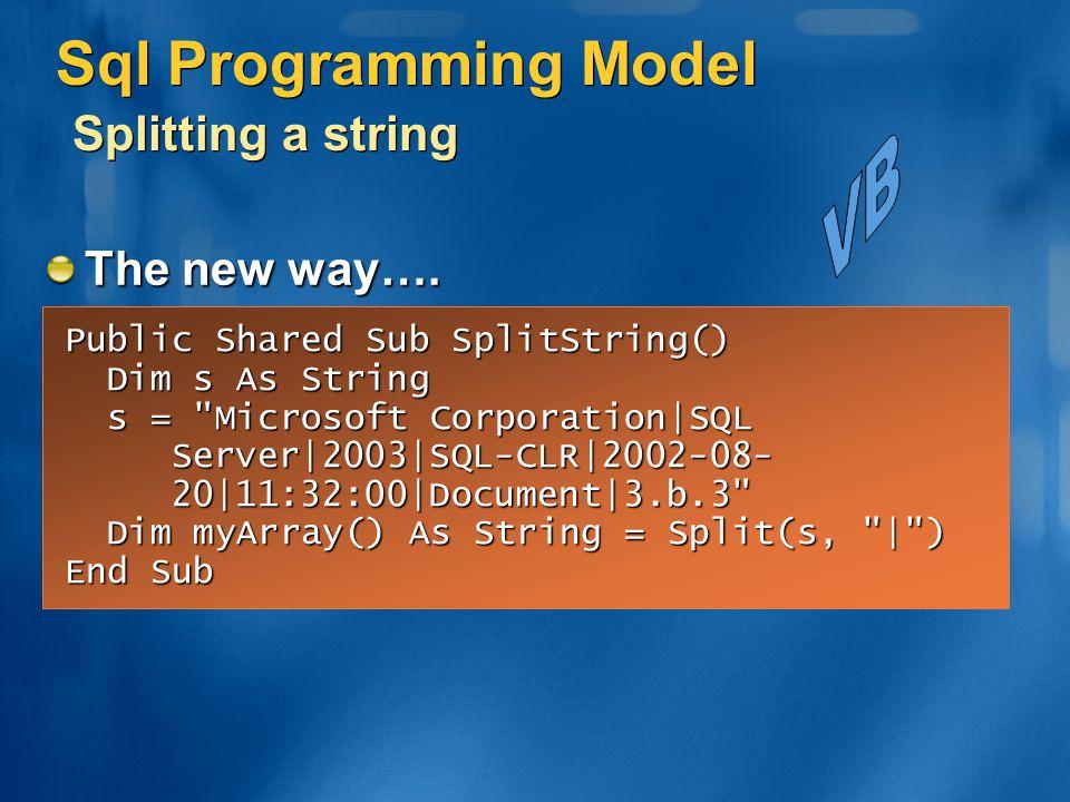 Sql Programming Model Splitting a string Public Shared Sub SplitString() Dim s As String Dim s As String s =