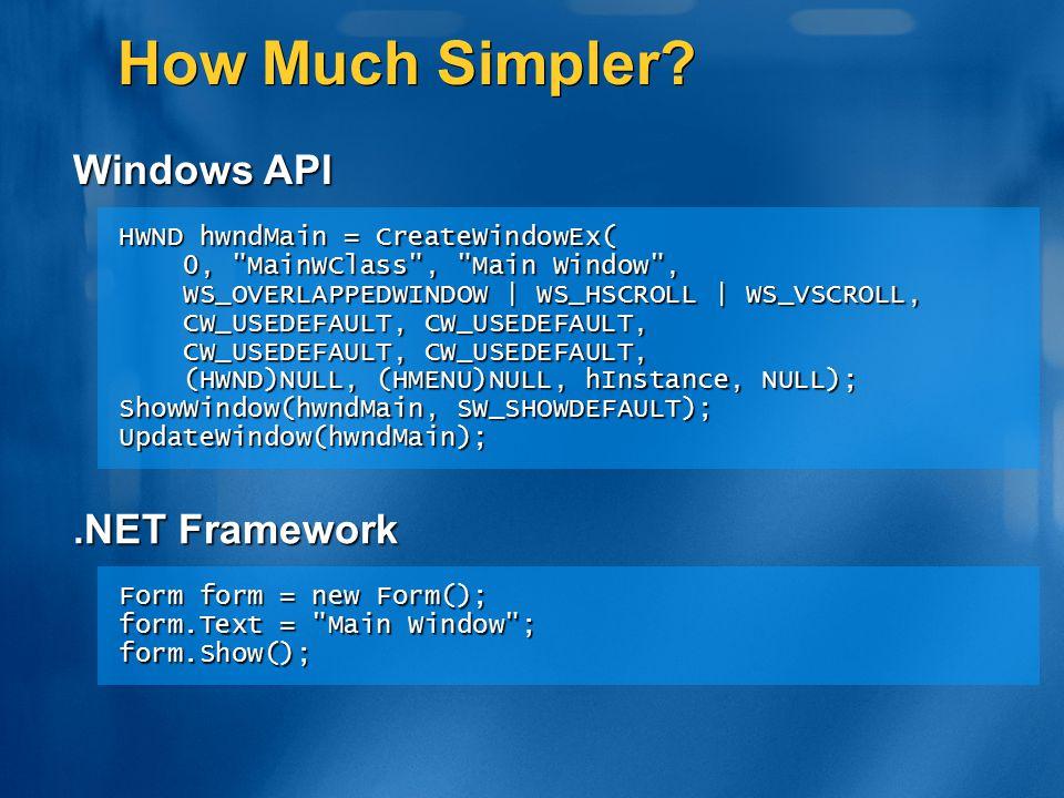 How Much Simpler? HWND hwndMain = CreateWindowEx( 0,