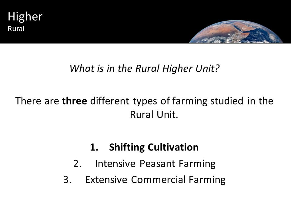 Higher Rural Questions 8, 9, 10 and 11 on page 267 of the Higher Textbook