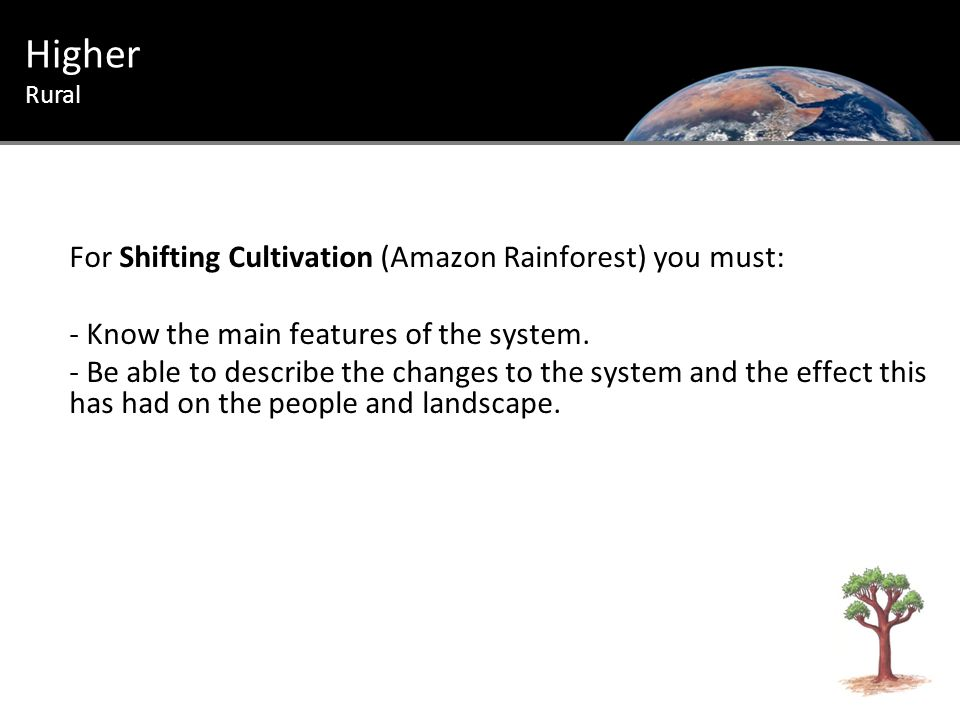 For Shifting Cultivation (Amazon Rainforest) you must: - Know the main features of the system.