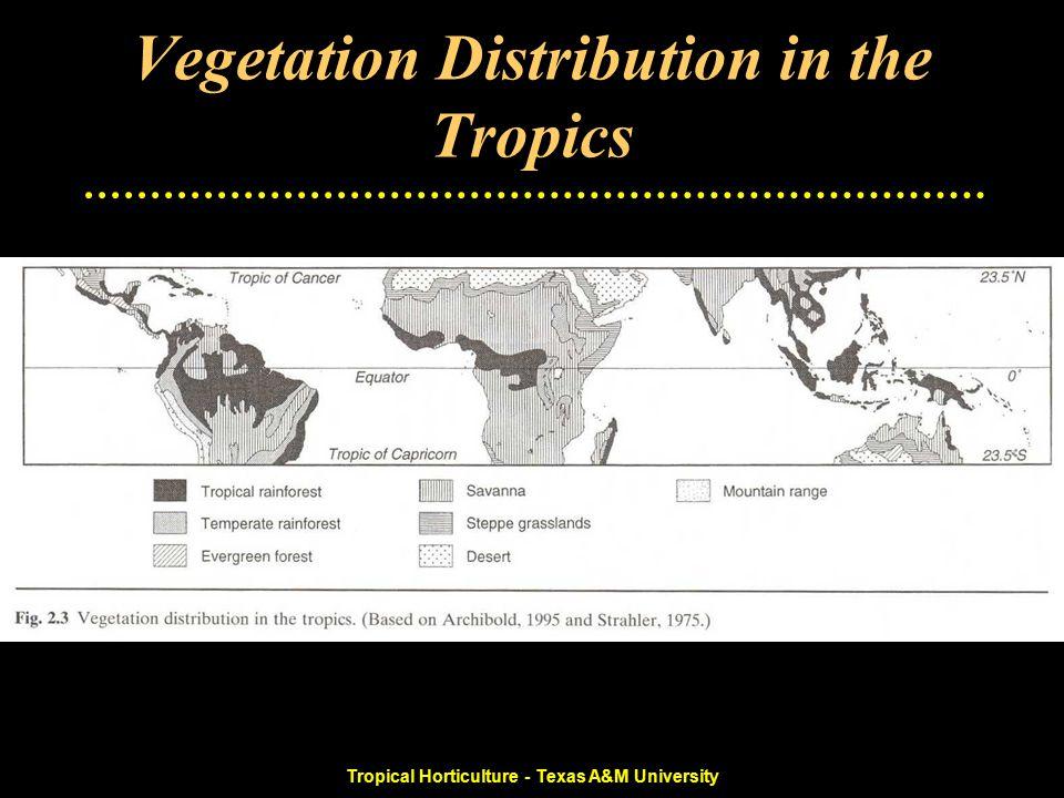 Tropical Horticulture - Texas A&M University Tropical Climate-Vegetation Zones Desert Semi-desert Shrubland steppe Dry savanna Wet savanna Swamp Formations Tropical forests (seasonal and rainforest) Tropical highlands