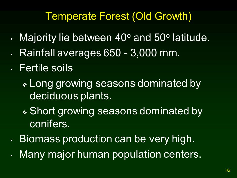 35 Temperate Forest (Old Growth) Majority lie between 40 o and 50 o latitude. Rainfall averages 650 - 3,000 mm. Fertile soils  Long growing seasons d