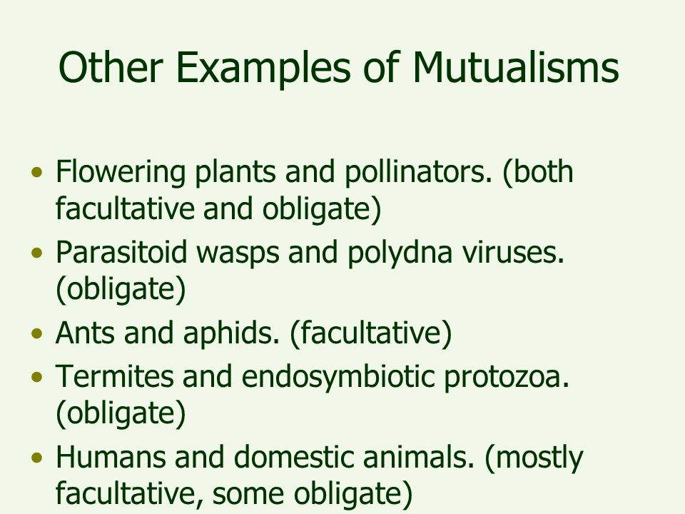 Other Examples of Mutualisms Flowering plants and pollinators. (both facultative and obligate) Parasitoid wasps and polydna viruses. (obligate) Ants a