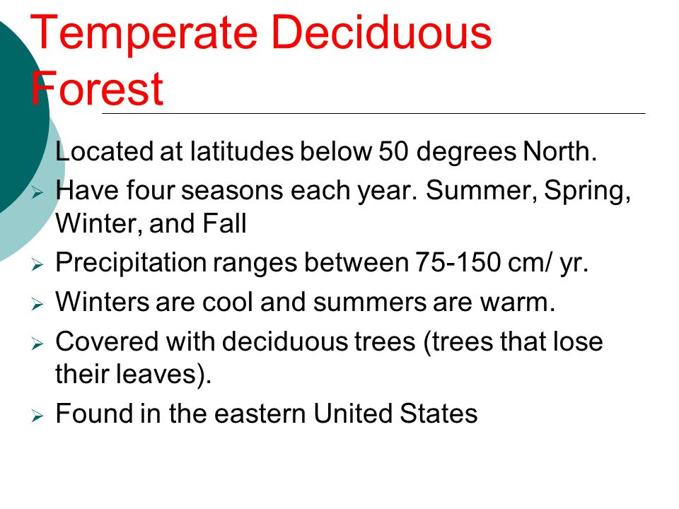 Temperate Deciduous Forest  Located at latitudes below 50 degrees North.  Have four seasons each year. Summer, Spring, Winter, and Fall  Precipitat