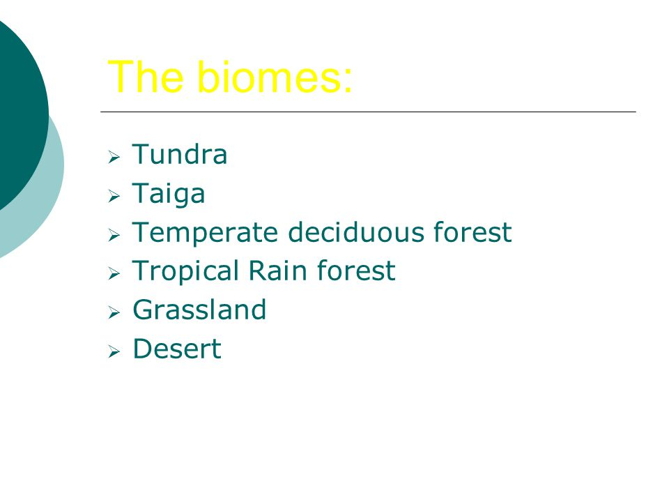 The biomes:  Tundra  Taiga  Temperate deciduous forest  Tropical Rain forest  Grassland  Desert