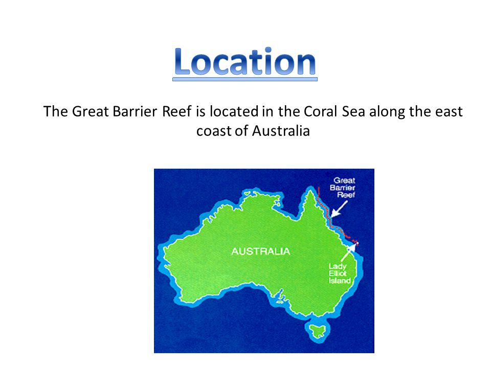 The Great Barrier Reef is located in the Coral Sea along the east coast of Australia