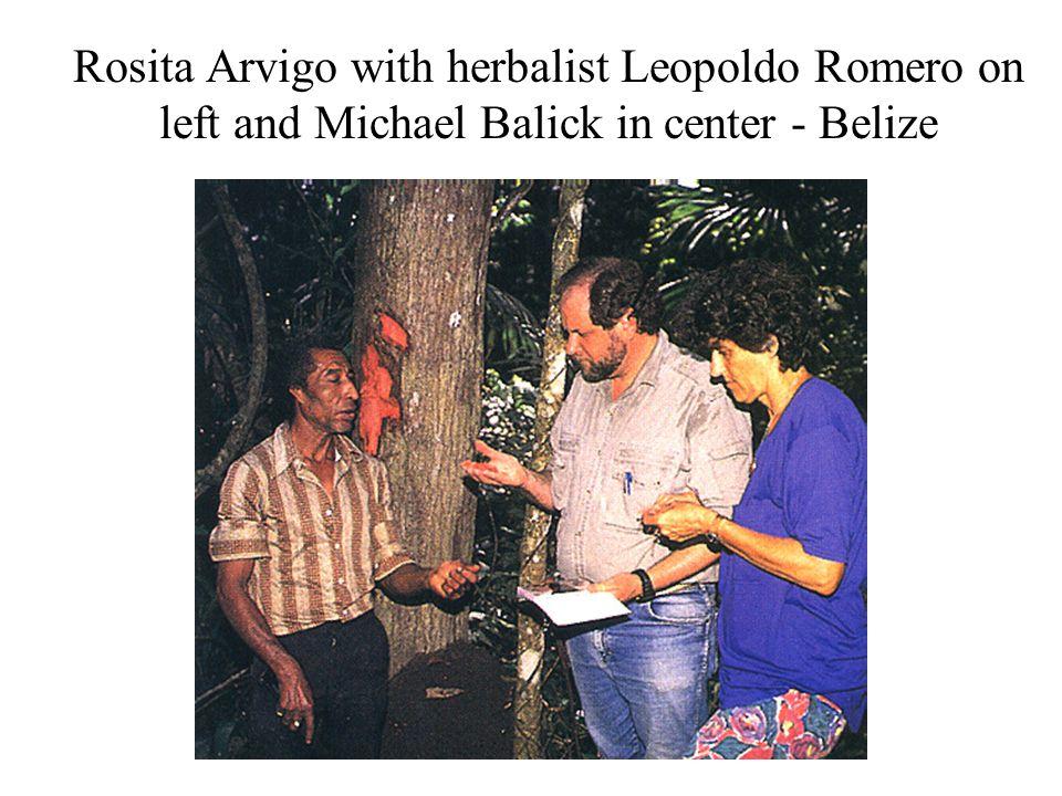 Rosita Arvigo with herbalist Leopoldo Romero on left and Michael Balick in center - Belize
