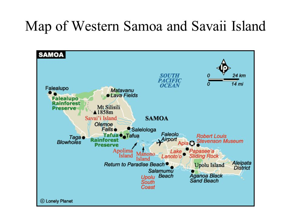 Map of Western Samoa and Savaii Island