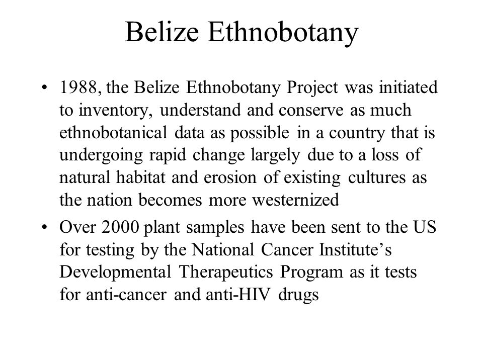 Belize Ethnobotany 1988, the Belize Ethnobotany Project was initiated to inventory, understand and conserve as much ethnobotanical data as possible in a country that is undergoing rapid change largely due to a loss of natural habitat and erosion of existing cultures as the nation becomes more westernized Over 2000 plant samples have been sent to the US for testing by the National Cancer Institute's Developmental Therapeutics Program as it tests for anti-cancer and anti-HIV drugs