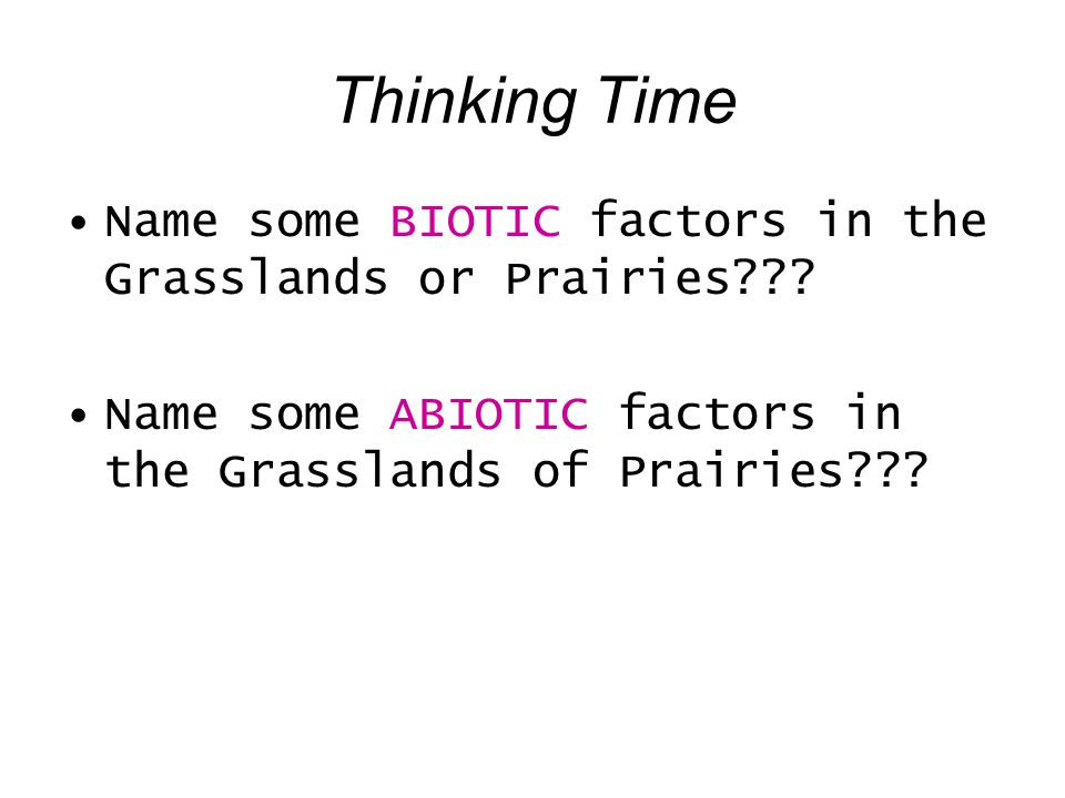 Thinking Time Name some BIOTIC factors in the Grasslands or Prairies??? Name some ABIOTIC factors in the Grasslands of Prairies???