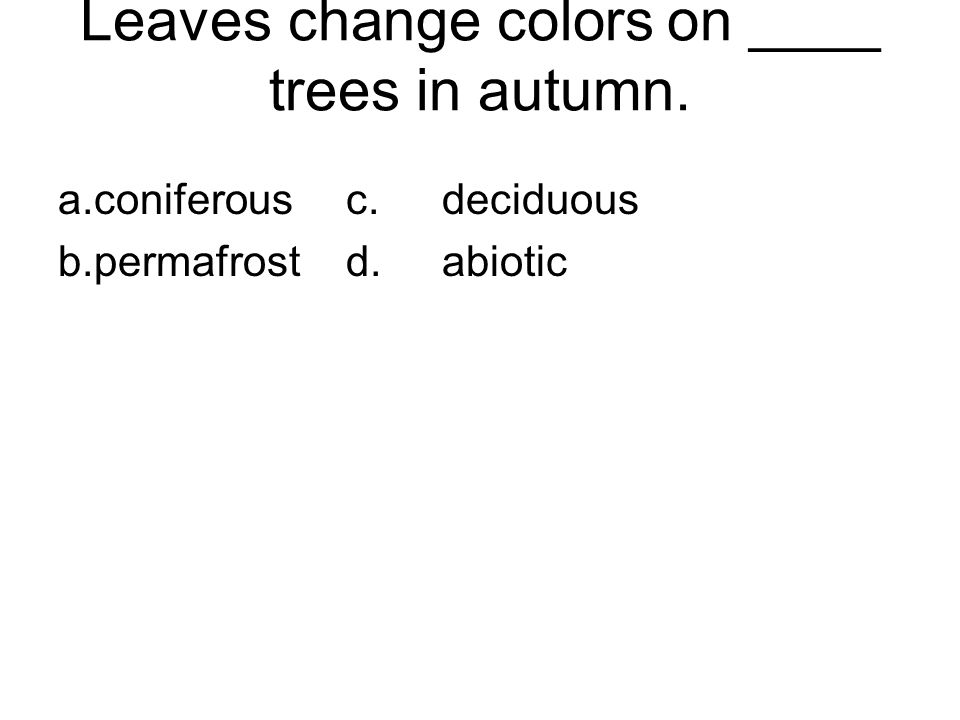 Leaves change colors on ____ trees in autumn. a.coniferousc.deciduous b.permafrostd.abiotic