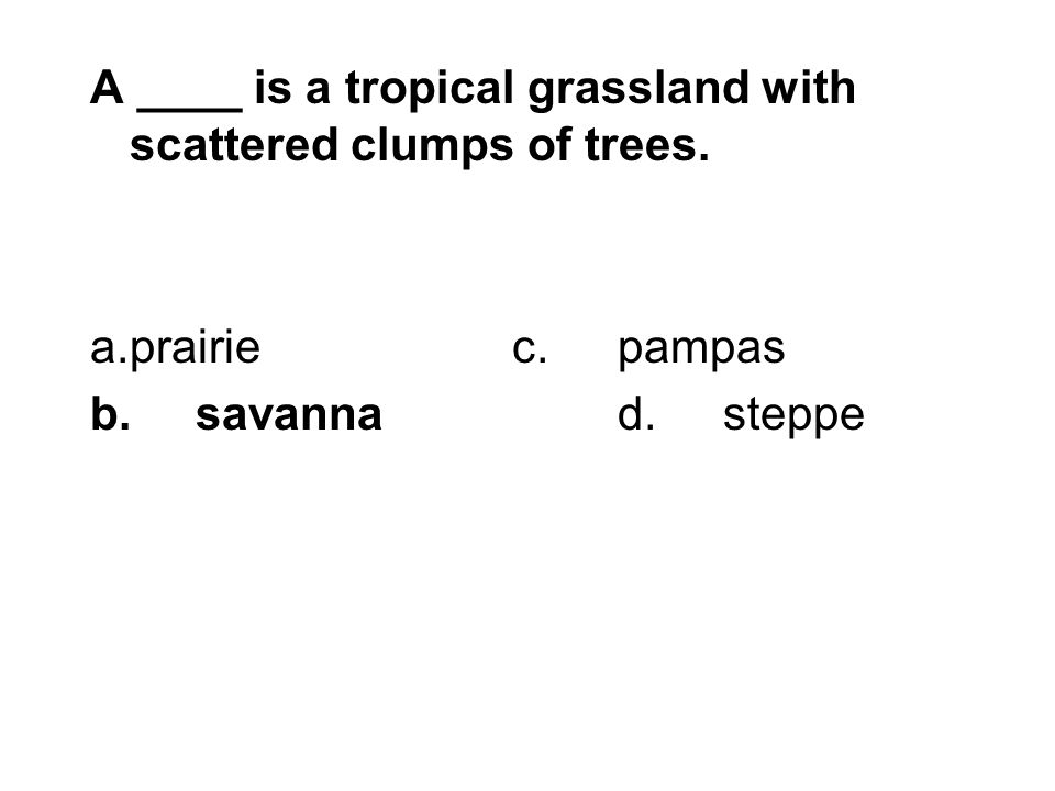 A ____ is a tropical grassland with scattered clumps of trees. a.prairiec.pampas b.savannad.steppe