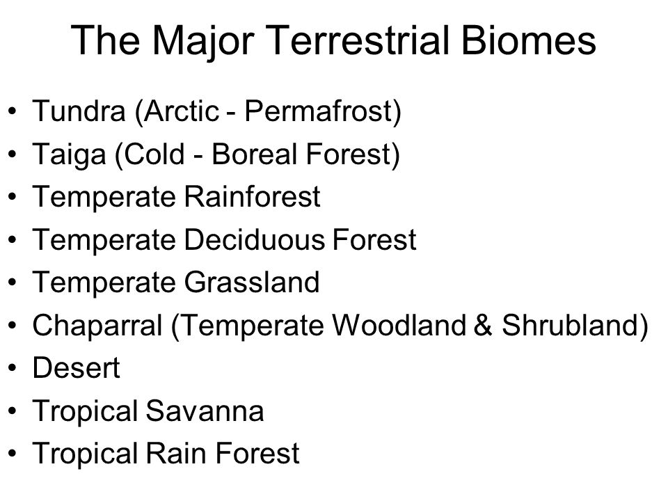 The Major Terrestrial Biomes Tundra (Arctic - Permafrost) Taiga (Cold - Boreal Forest) Temperate Rainforest Temperate Deciduous Forest Temperate Grass