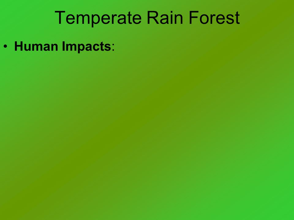 Temperate Rain Forest Human Impacts: