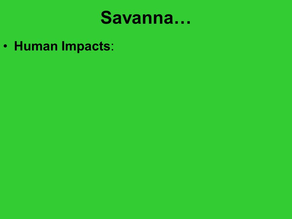 Savanna… Human Impacts: