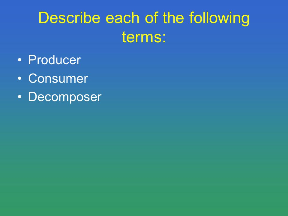 Describe each of the following terms: Producer Consumer Decomposer