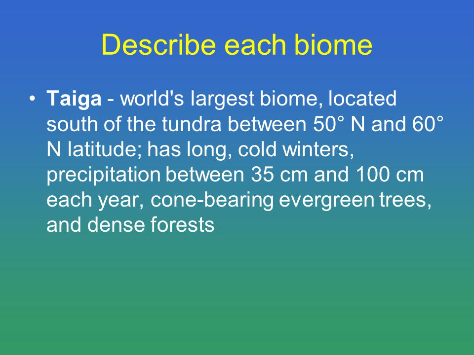 Describe each biome Taiga - world s largest biome, located south of the tundra between 50° N and 60° N latitude; has long, cold winters, precipitation between 35 cm and 100 cm each year, cone-bearing evergreen trees, and dense forests