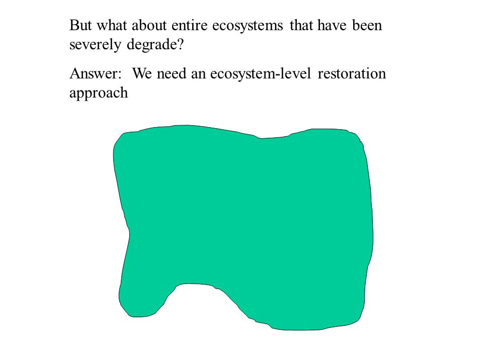 But what about entire ecosystems that have been severely degrade.