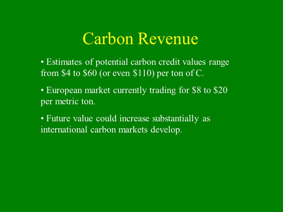 Estimates of potential carbon credit values range from $4 to $60 (or even $110) per ton of C.