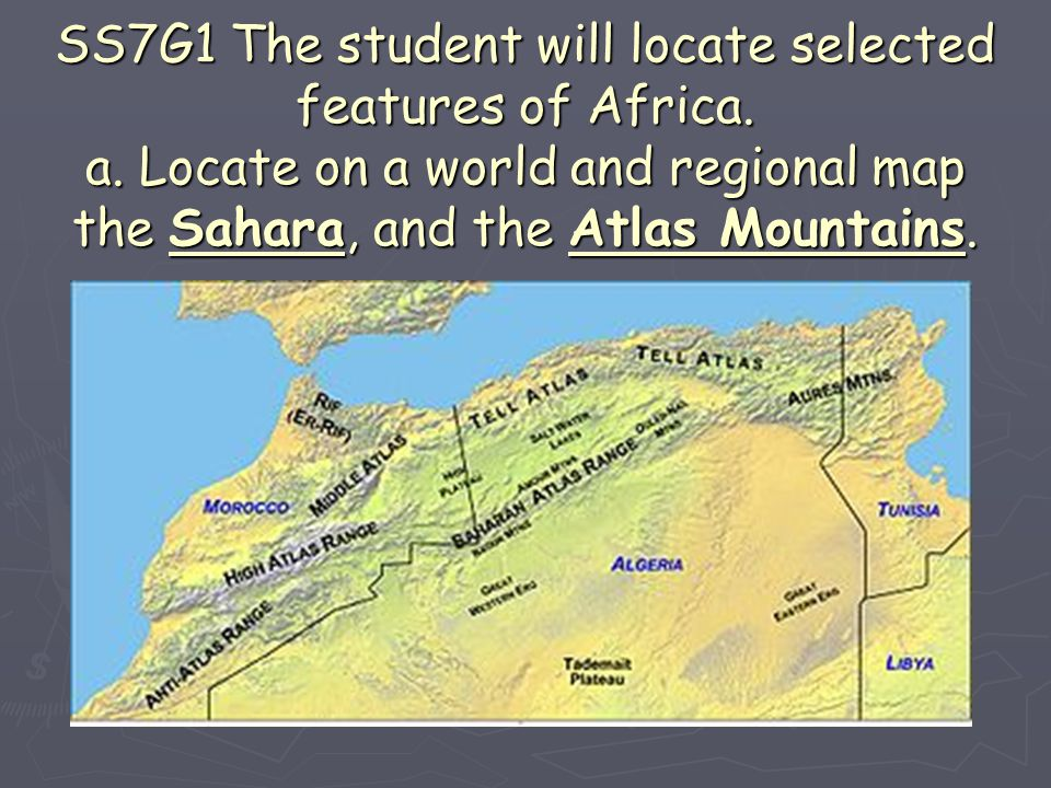 ► SS7G3 The student will explain the impact of location, climate, and physical characteristics on population distribution in Africa.
