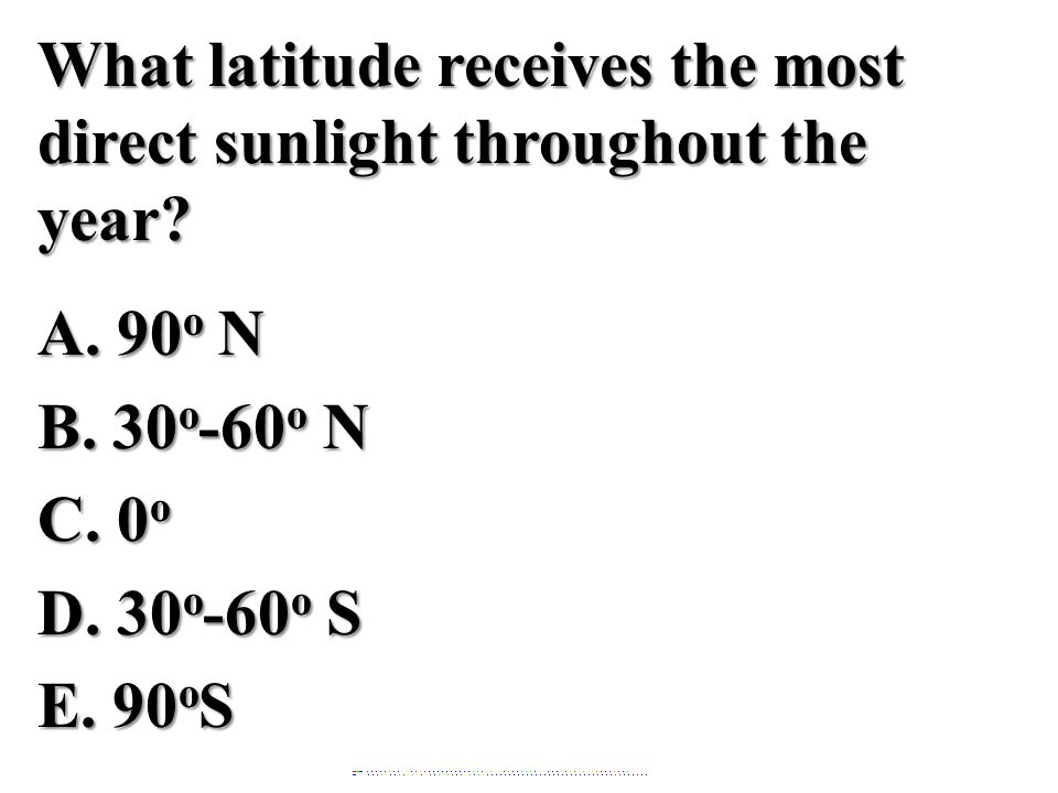 What latitude receives the most direct sunlight throughout the year.