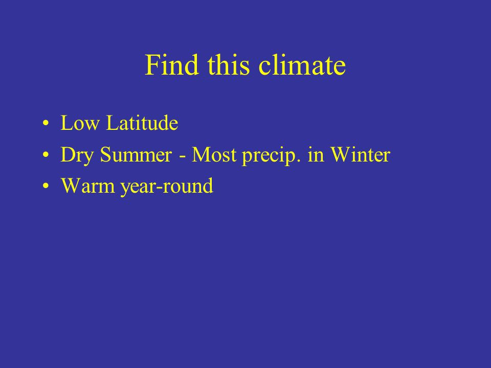 Find this climate Low Latitude Dry Summer - Most precip. in Winter Warm year-round