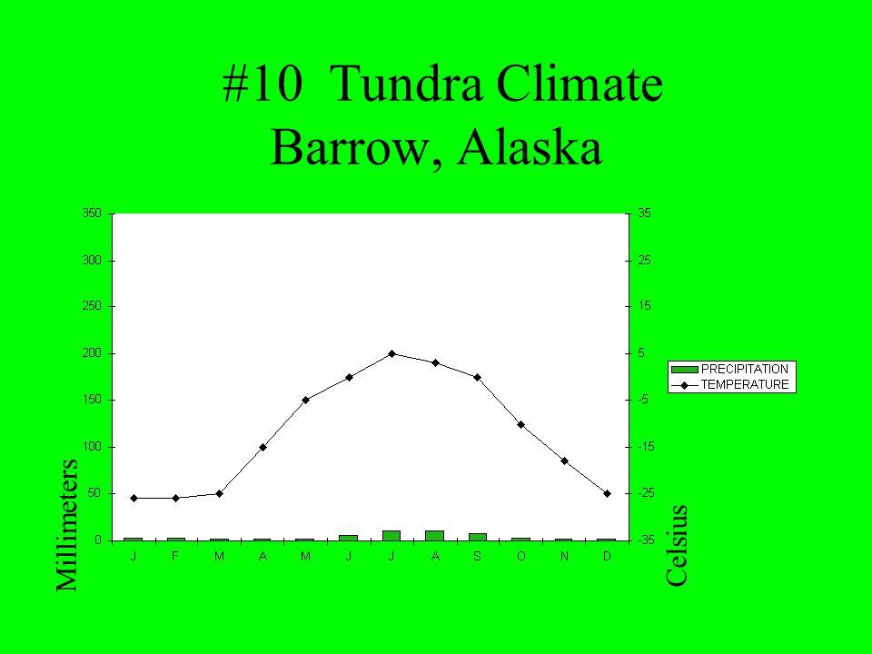 #10 Tundra Climate Barrow, Alaska Millimeters Celsius