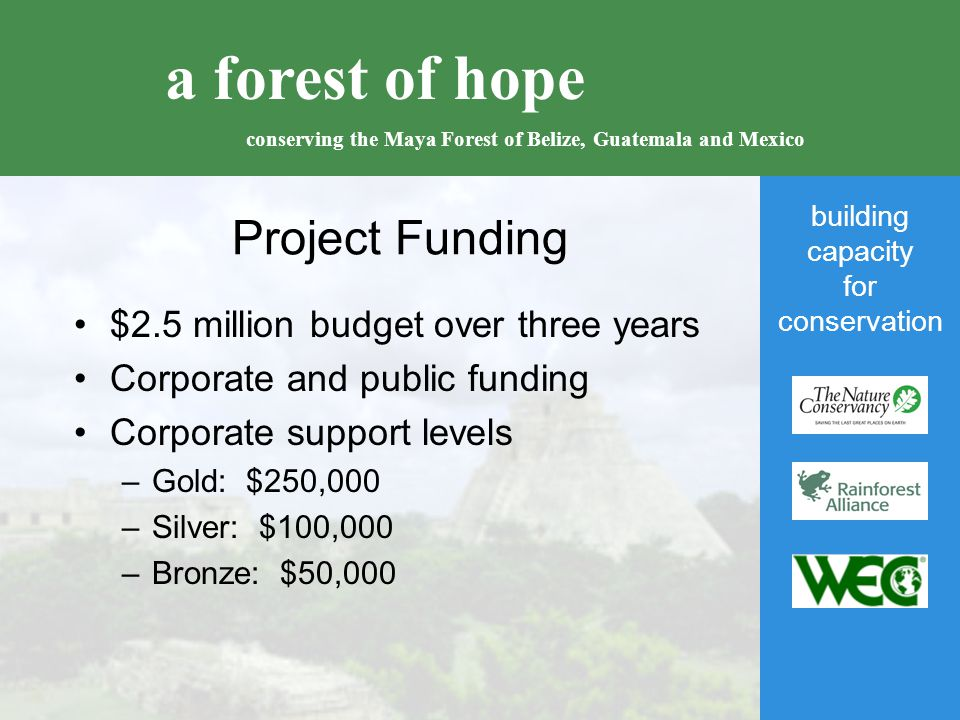 building capacity for conservation a forest of hope conserving the Maya Forest of Belize, Guatemala and Mexico Project Funding $2.5 million budget over three years Corporate and public funding Corporate support levels –Gold: $250,000 –Silver: $100,000 –Bronze: $50,000