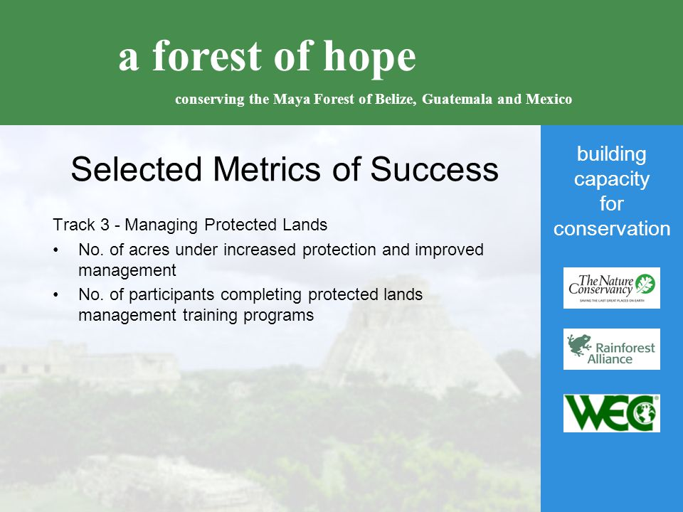 building capacity for conservation a forest of hope conserving the Maya Forest of Belize, Guatemala and Mexico Selected Metrics of Success Track 3 - Managing Protected Lands No.