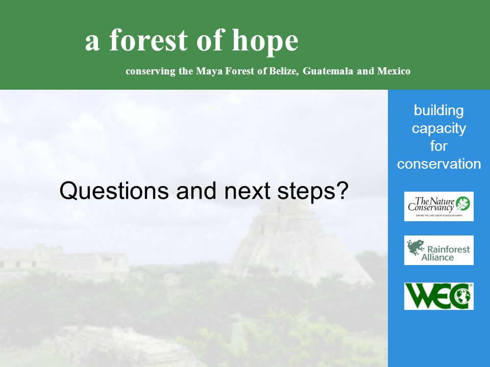 building capacity for conservation a forest of hope conserving the Maya Forest of Belize, Guatemala and Mexico Questions and next steps