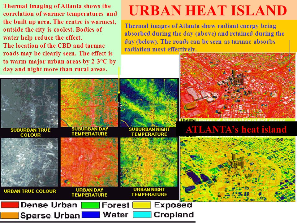URBAN HEAT ISLAND Thermal images of Atlanta show radiant energy being absorbed during the day (above) and retained during the day (below).