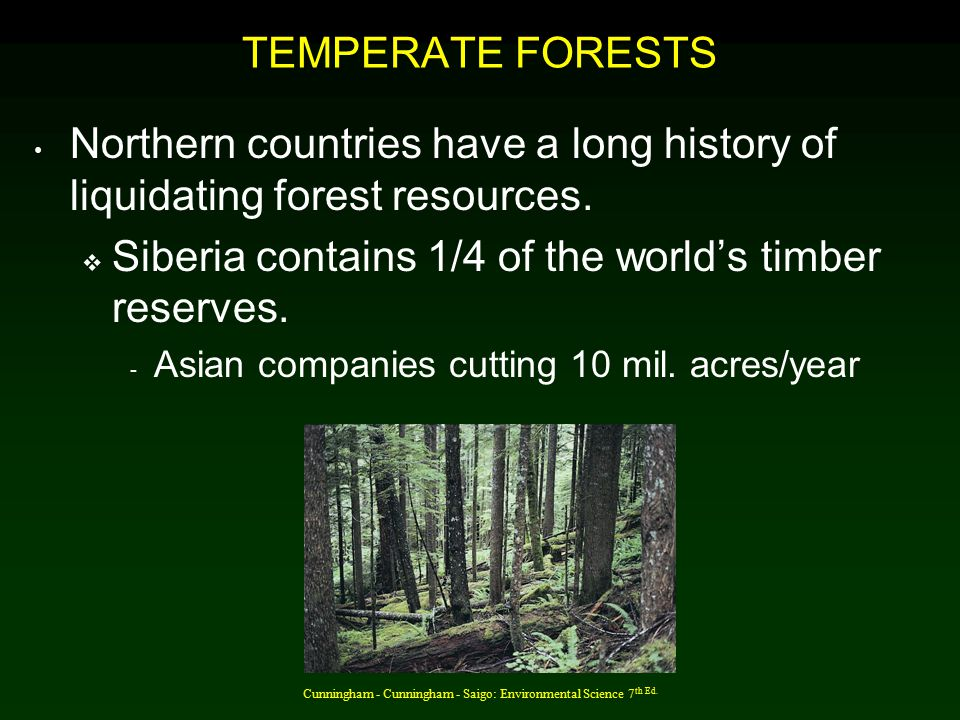 Cunningham - Cunningham - Saigo: Environmental Science 7 th Ed. TEMPERATE FORESTS Northern countries have a long history of liquidating forest resourc