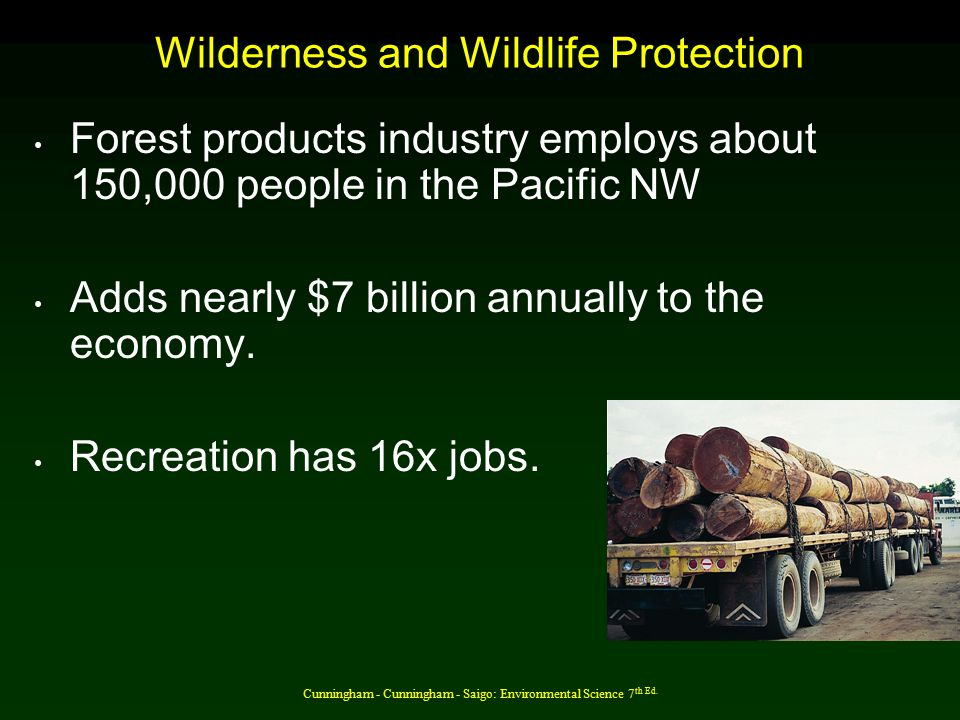 Wilderness and Wildlife Protection Forest products industry employs about 150,000 people in the Pacific NW Adds nearly $7 billion annually to the economy.