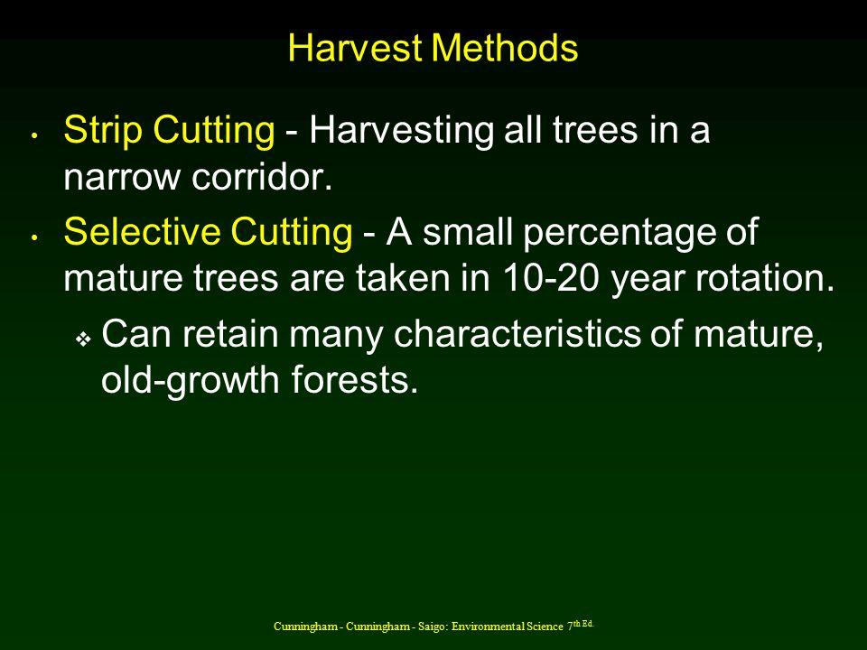 Cunningham - Cunningham - Saigo: Environmental Science 7 th Ed. Harvest Methods Strip Cutting - Harvesting all trees in a narrow corridor. Selective C