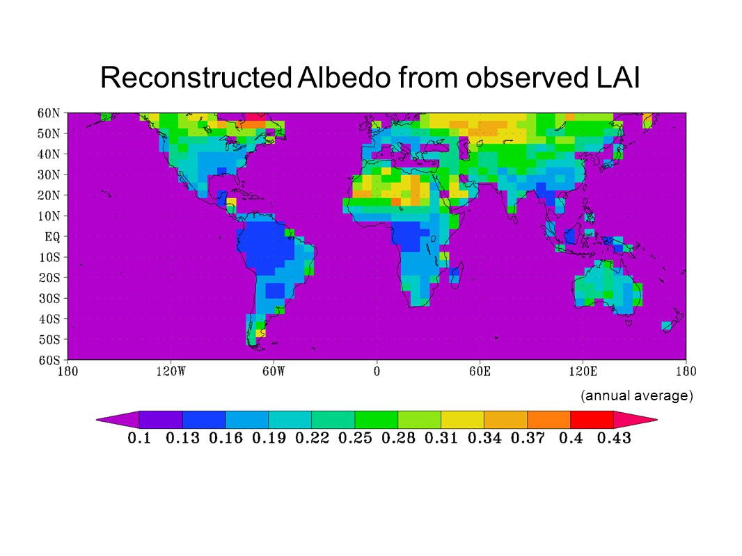 Reconstructed Albedo from observed LAI (annual average)