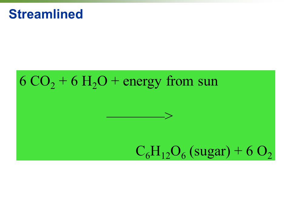 Streamlined 6 CO 2 + 6 H 2 O + energy from sun ————> C 6 H 12 O 6 (sugar) + 6 O 2