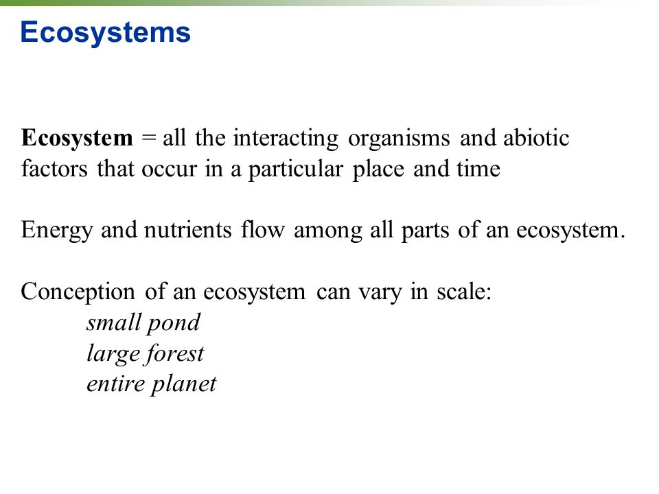 Ecosystems Ecosystem = all the interacting organisms and abiotic factors that occur in a particular place and time Energy and nutrients flow among all parts of an ecosystem.