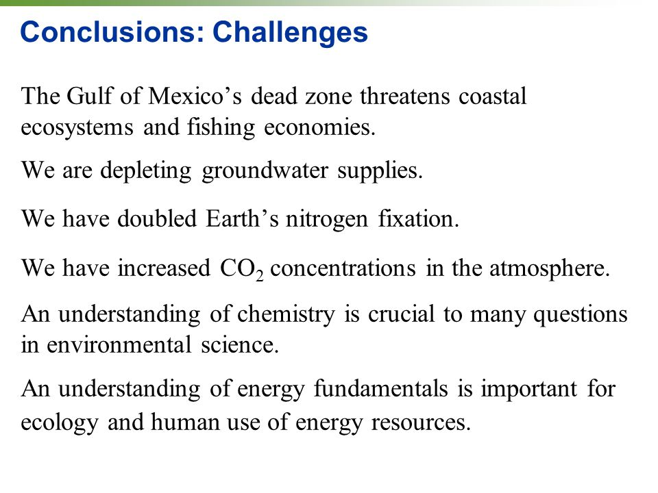 Conclusions: Challenges The Gulf of Mexico's dead zone threatens coastal ecosystems and fishing economies.