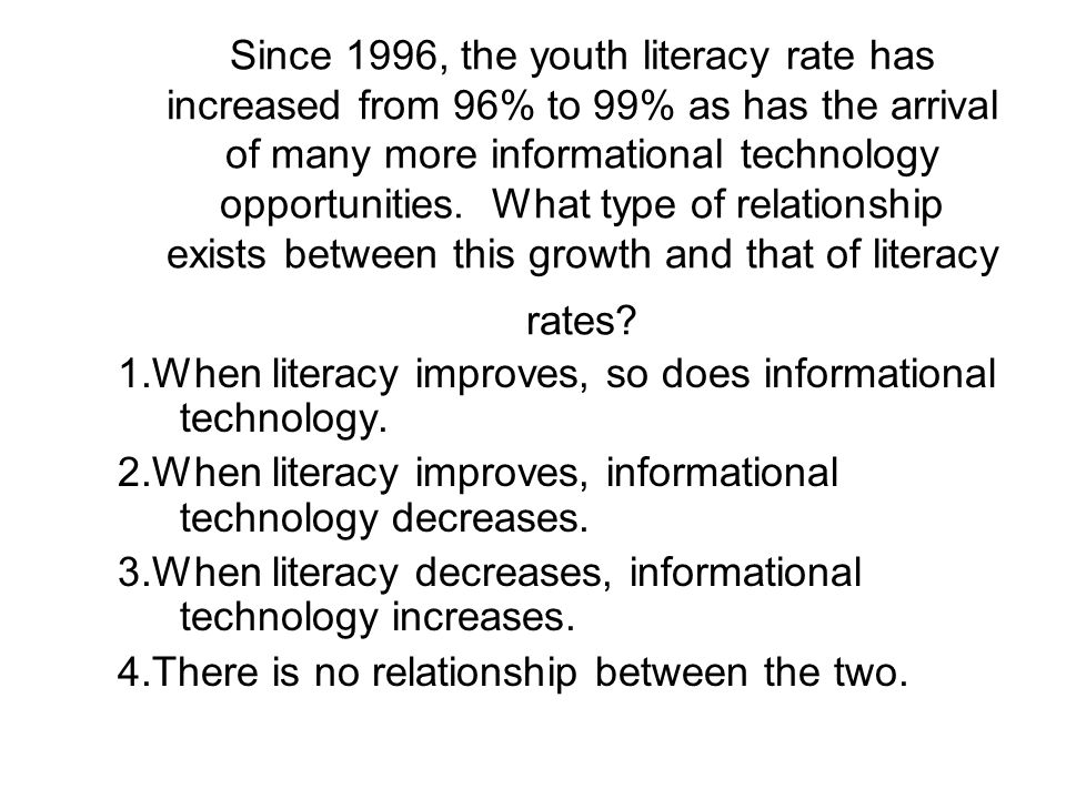 Since 1996, the youth literacy rate has increased from 96% to 99% as has the arrival of many more informational technology opportunities. What type of