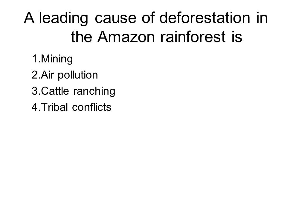 A leading cause of deforestation in the Amazon rainforest is 1.Mining 2.Air pollution 3.Cattle ranching 4.Tribal conflicts