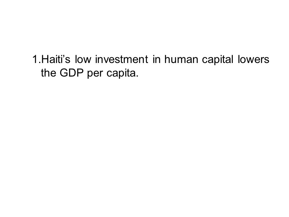 1.Haiti's low investment in human capital lowers the GDP per capita.