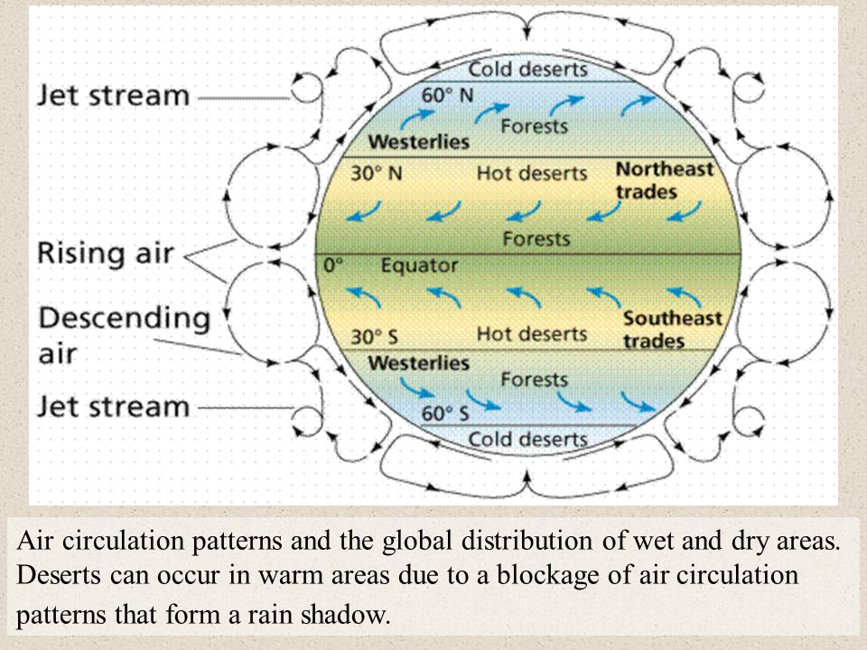 Air circulation patterns and the global distribution of wet and dry areas. Deserts can occur in warm areas due to a blockage of air circulation patter