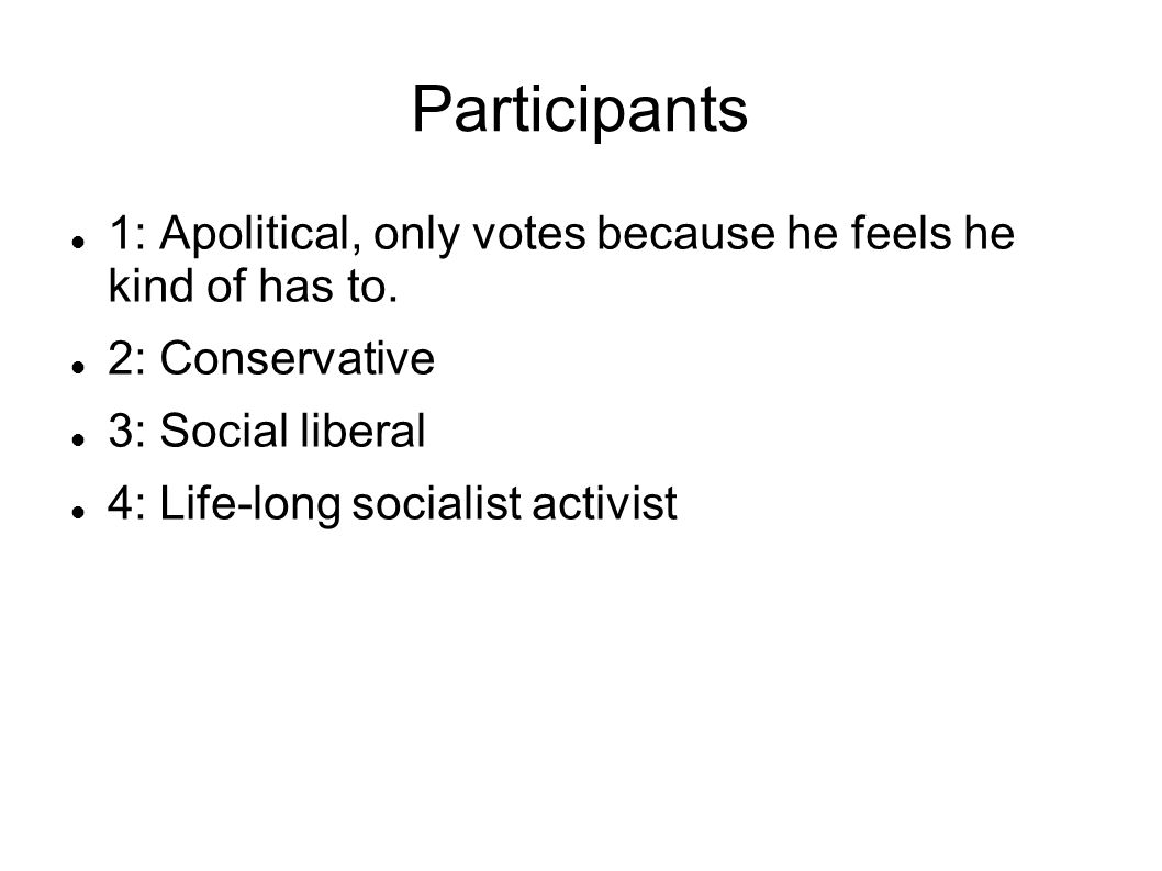 Participants 1: Apolitical, only votes because he feels he kind of has to.