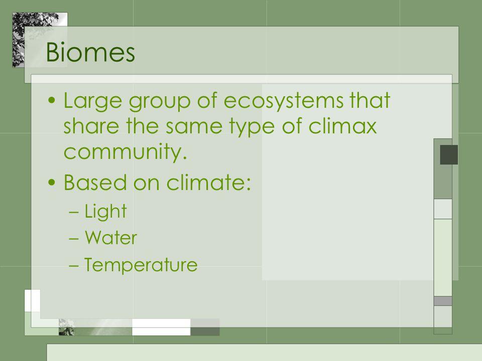 Types of Biomes Terrestrial (land) Aquatic (water)