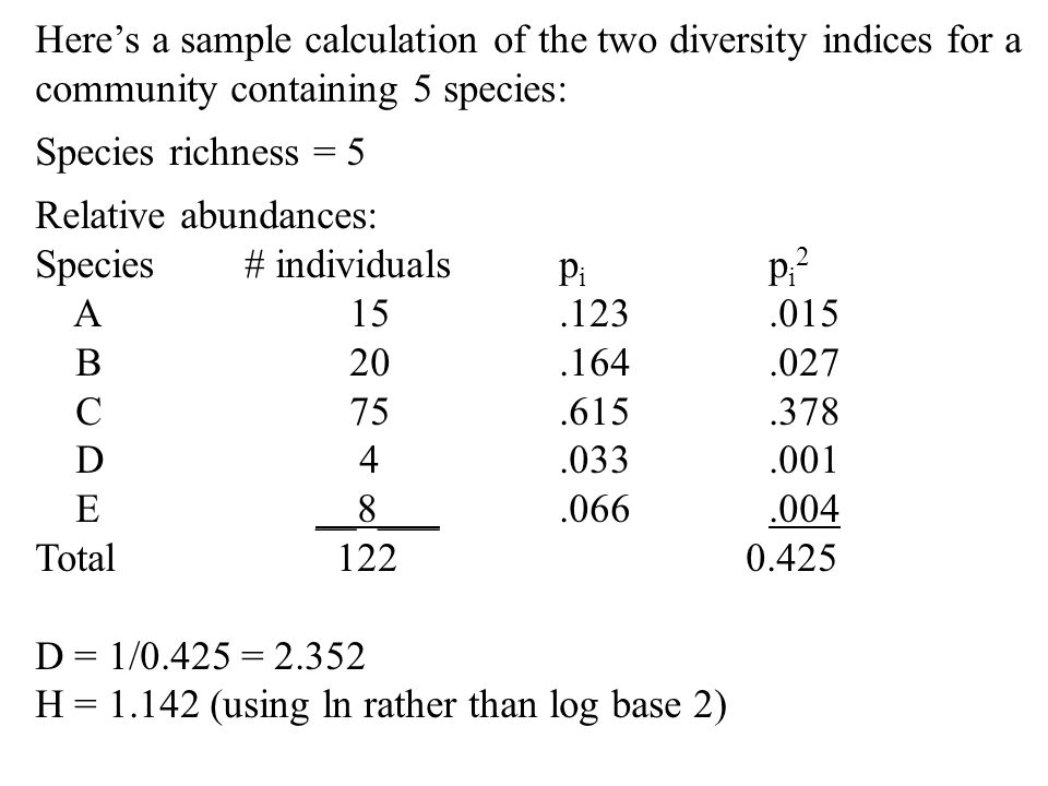 Here's a sample calculation of the two diversity indices for a community containing 5 species: Species richness = 5 Relative abundances: Species# indi