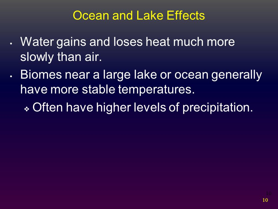 10 Water gains and loses heat much more slowly than air. Biomes near a large lake or ocean generally have more stable temperatures.  Often have highe