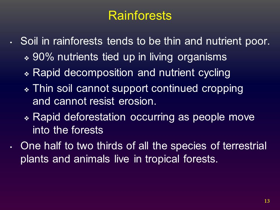 13 Rainforests Soil in rainforests tends to be thin and nutrient poor.  90% nutrients tied up in living organisms  Rapid decomposition and nutrient