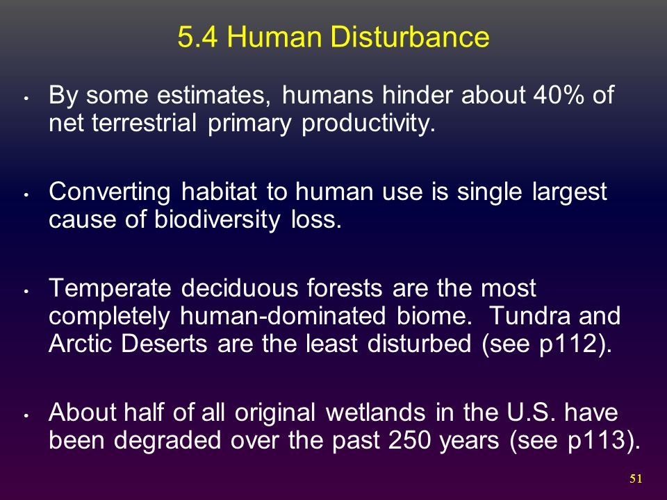 51 5.4 Human Disturbance By some estimates, humans hinder about 40% of net terrestrial primary productivity. Converting habitat to human use is single