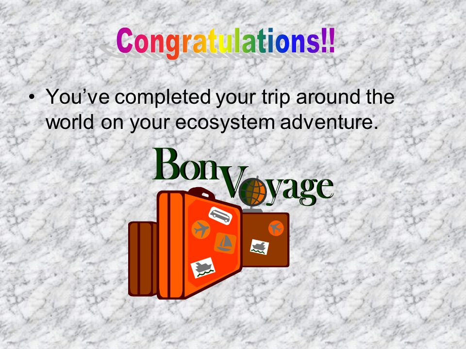 You've completed your trip around the world on your ecosystem adventure.