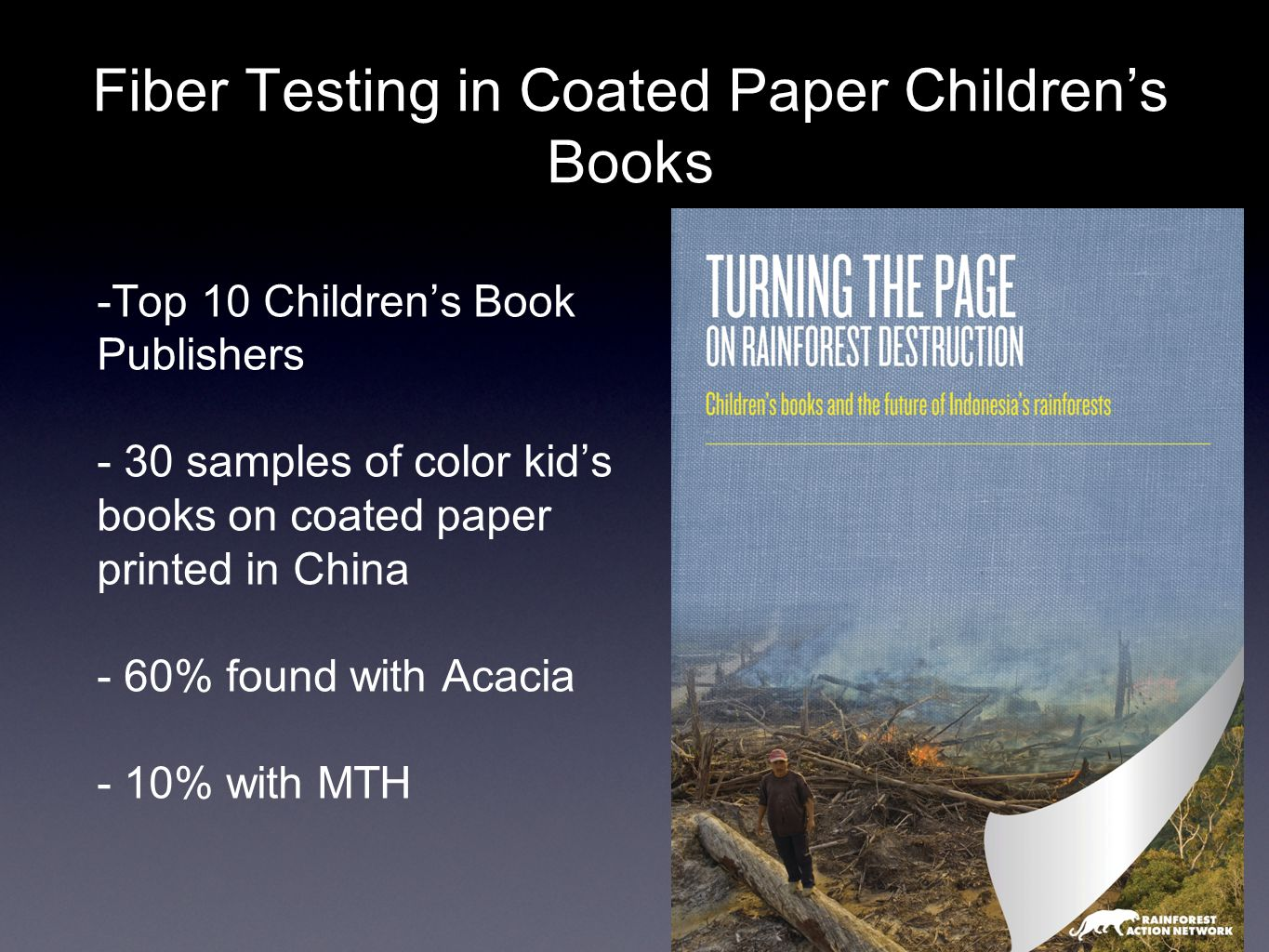 Fiber Testing in Coated Paper Children's Books -Top 10 Children's Book Publishers - 30 samples of color kid's books on coated paper printed in China - 60% found with Acacia - 10% with MTH
